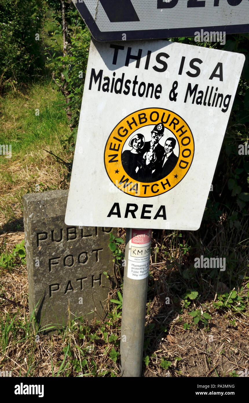 Neighbourhood Watch sign by a footpath and roadside in Boughton Monchelsea village, kent, England. - Stock Image