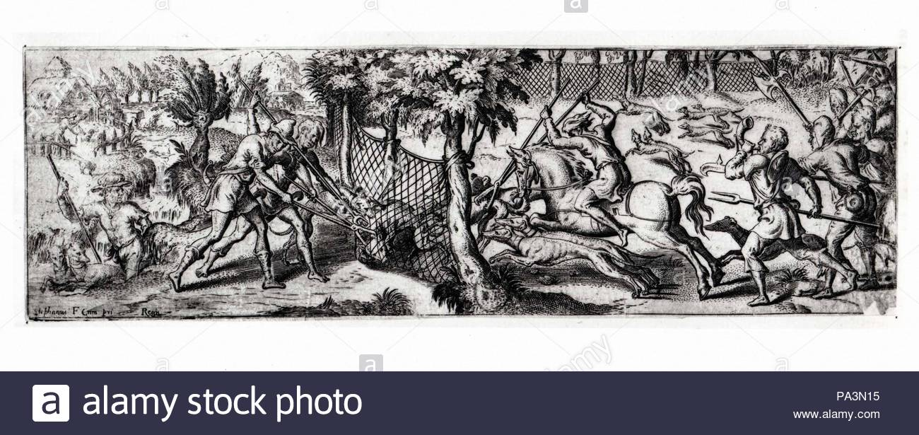 Wolf Hunt Second Half 16th Century Pen And Black Dark Gray And