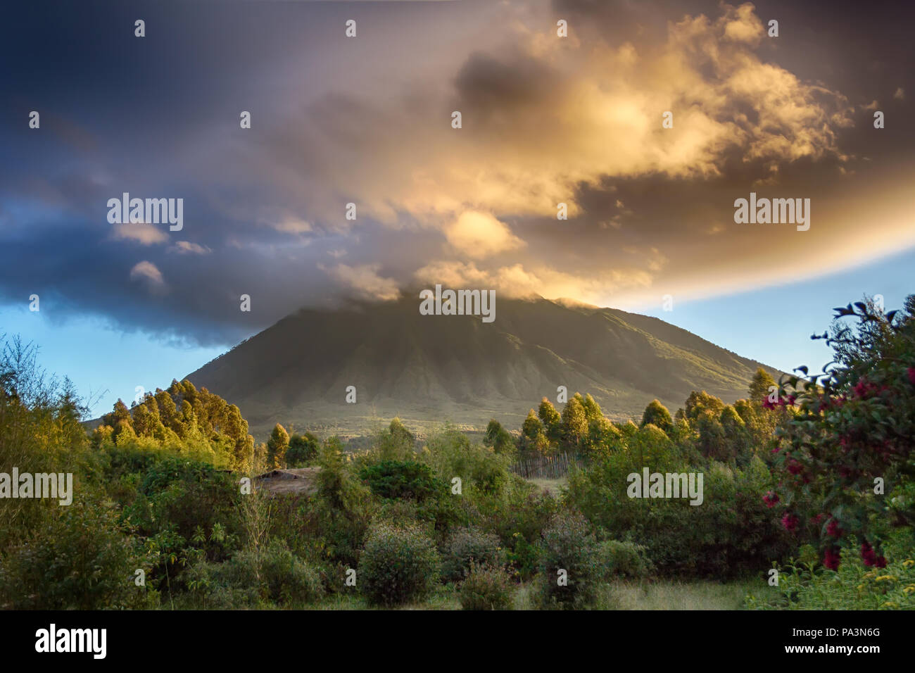 Mount Sabyinyo, an extinct volcano in the Virunga Mountains.  The summit marks the intersection of the border of Rwanda, Uganda and DRC - Stock Image
