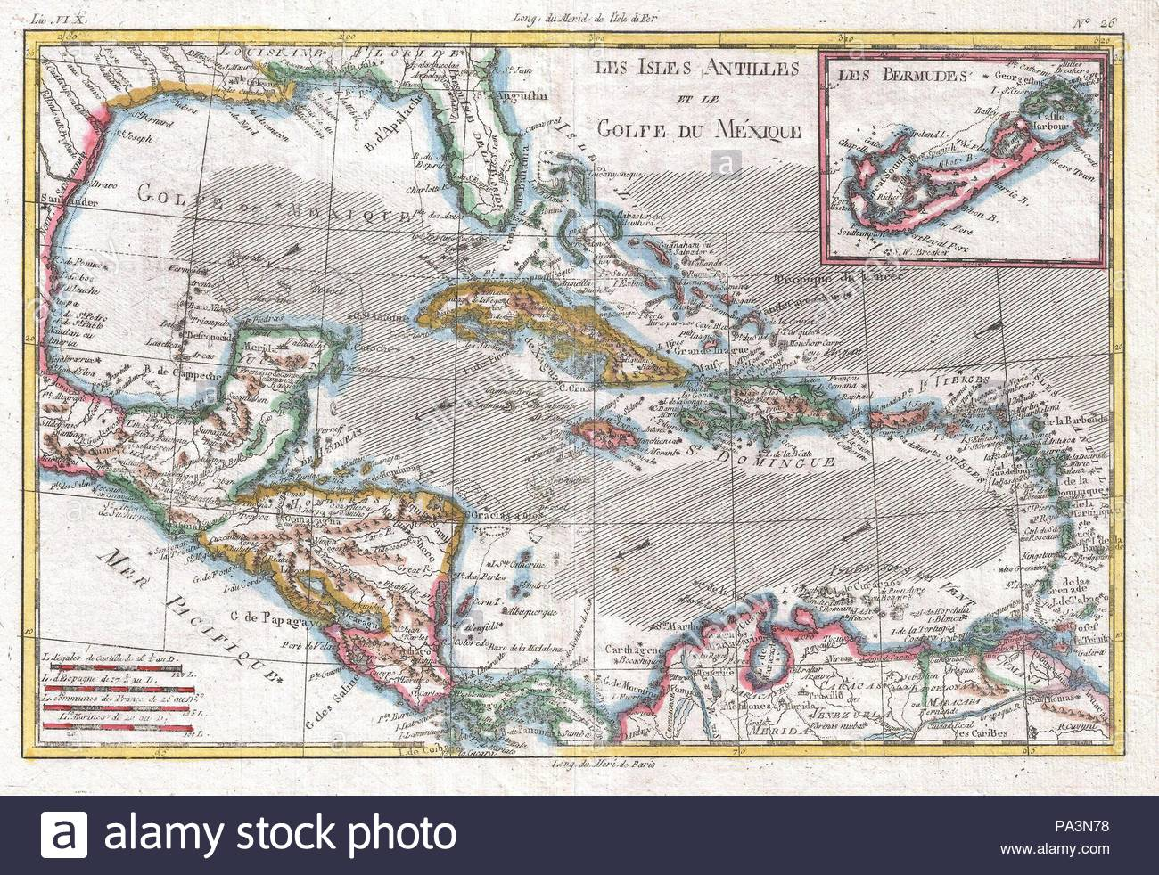 Mexico Map 1794.1780 Raynal And Bonne Map Of The West Indies Caribbean And Gulf