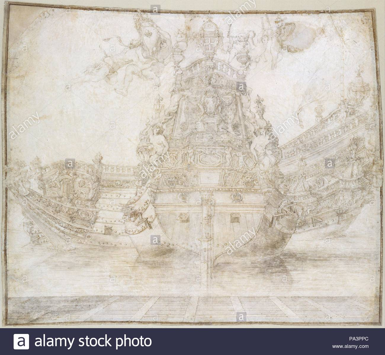 Design for the decoration of a Warship, 17th century, Pen and brown ink, brush and brown wash, over traces of gray chalk on parchment, 20 3/4 x 24 7/8 in. (52.7 x 63.2 cm), Drawings, Pierre Puget (French, Château Follet 1620–1694 Fougette). - Stock Image