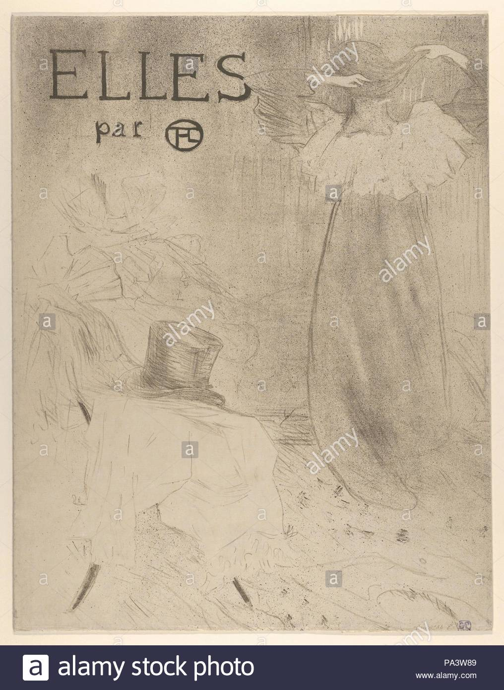 elles portfolio cover 1896 crayon brush and spatter lithograph