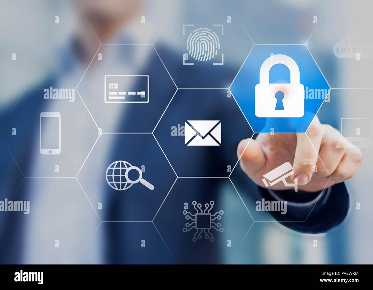 Cybersecurity on internet with secure access website and email, protection for credit card payment, biometric fingerprint, cyber security for personal - Stock Image