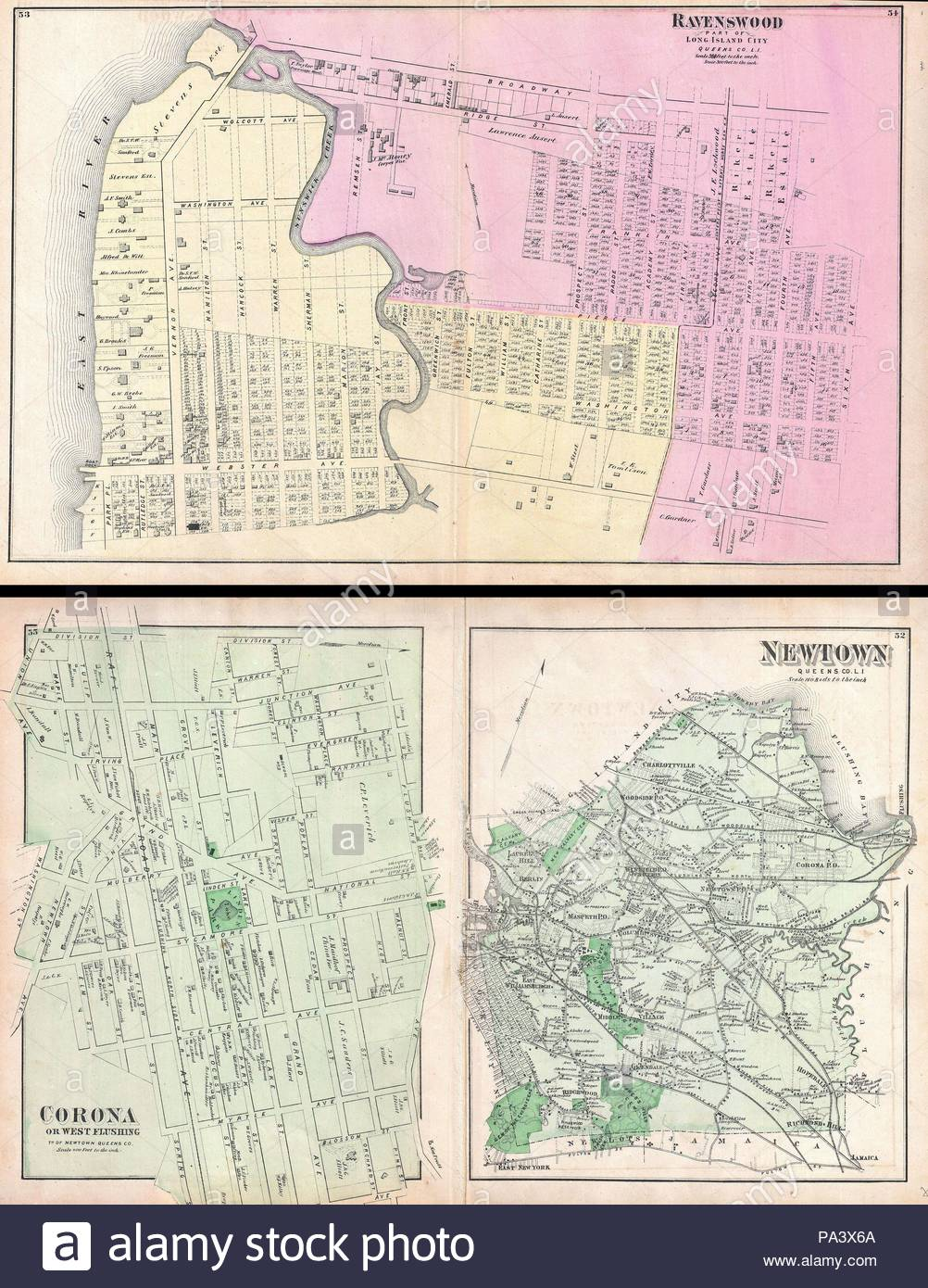 1873 Beers Map Of Ravenswood Long Island City Queens New York