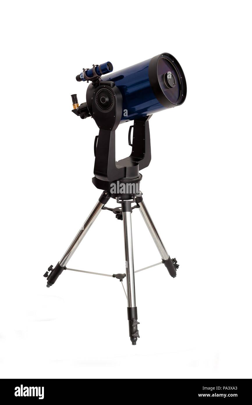 long range telescope on a tripod isolated on white backgrouns - Stock Image