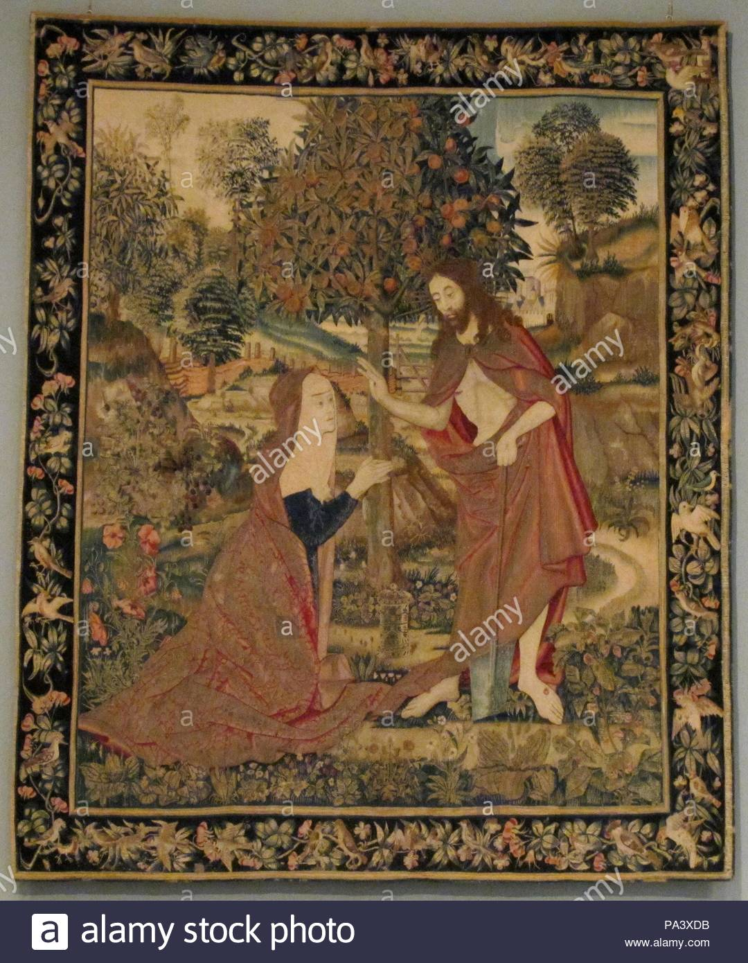 The Resurrected Christ Appearing to Mary Magdelene in the Garden, ca. 1500–1520, South Netherlandish, Wool warp; wool, silk, and gilt wefts, Overall: 94 x 80in. (238.8 x 203.2cm), Textiles-Tapestries. - Stock Image