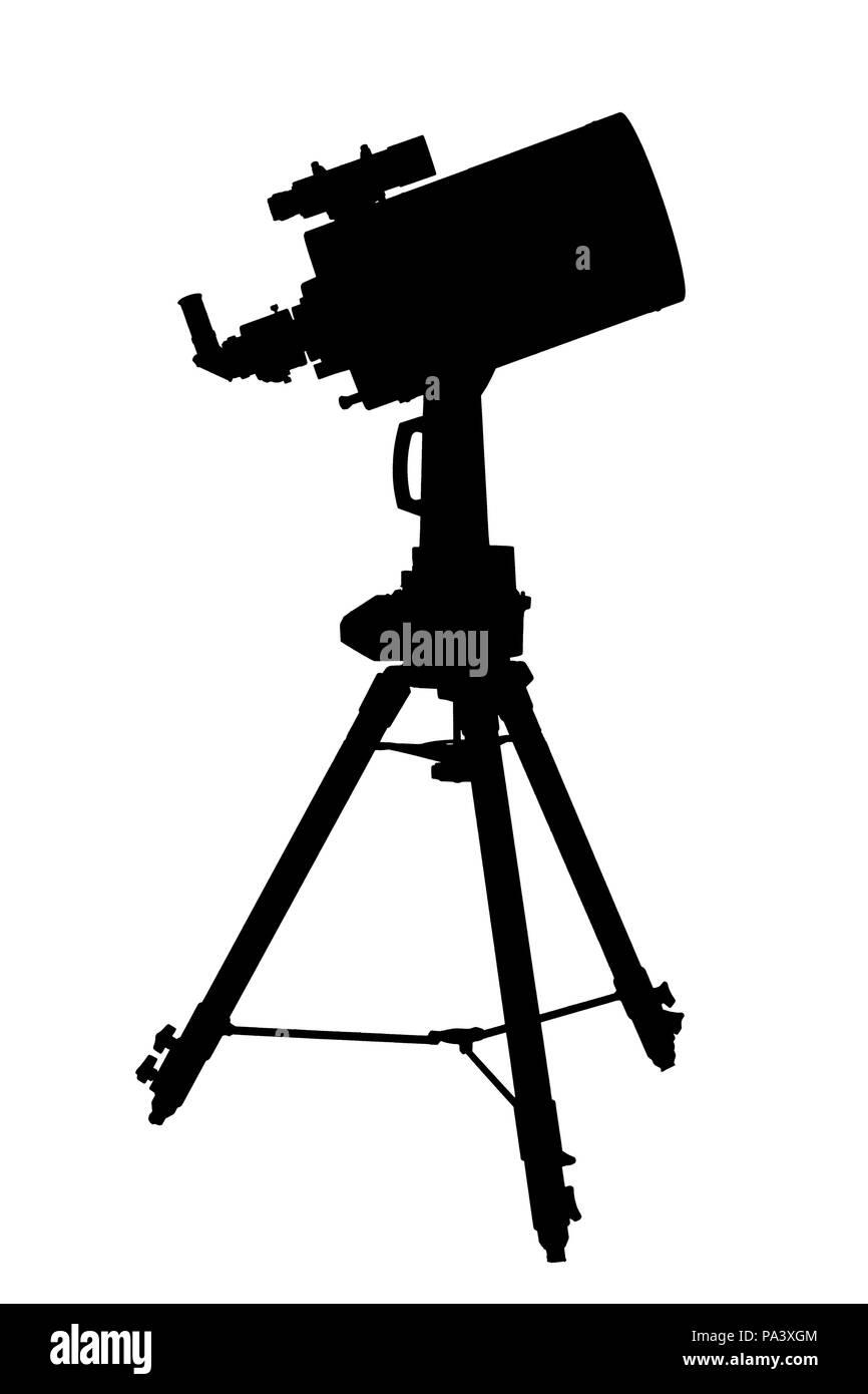 long range telescope on a tripod isolated on white