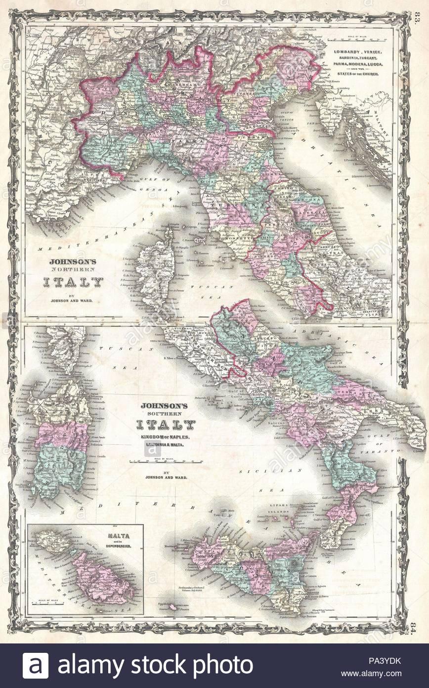 1862, Johnson Map of Italy, Naples and Sicily Stock Photo: 212758383 ...