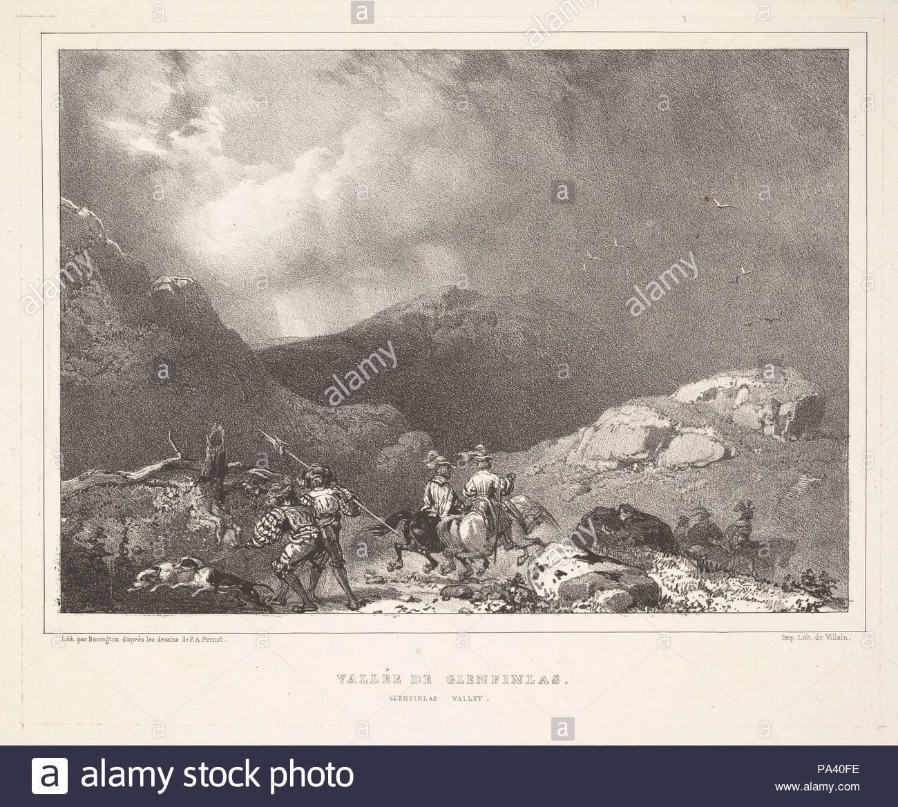 Glenfinlas Valley (Vallée de Glenfinlas, from Vues Pittoresques de l'Écosse), 1826, Lithograph, sheet: 10 3/16 x 13 9/16 in. (25.8 x 34.4 cm), Prints, Richard Parkes Bonington (British, Arnold, Nottinghamshire 1802–1828 London), After François-Alexandre Pernot (French, Wassy 1793–1865). - Stock Image