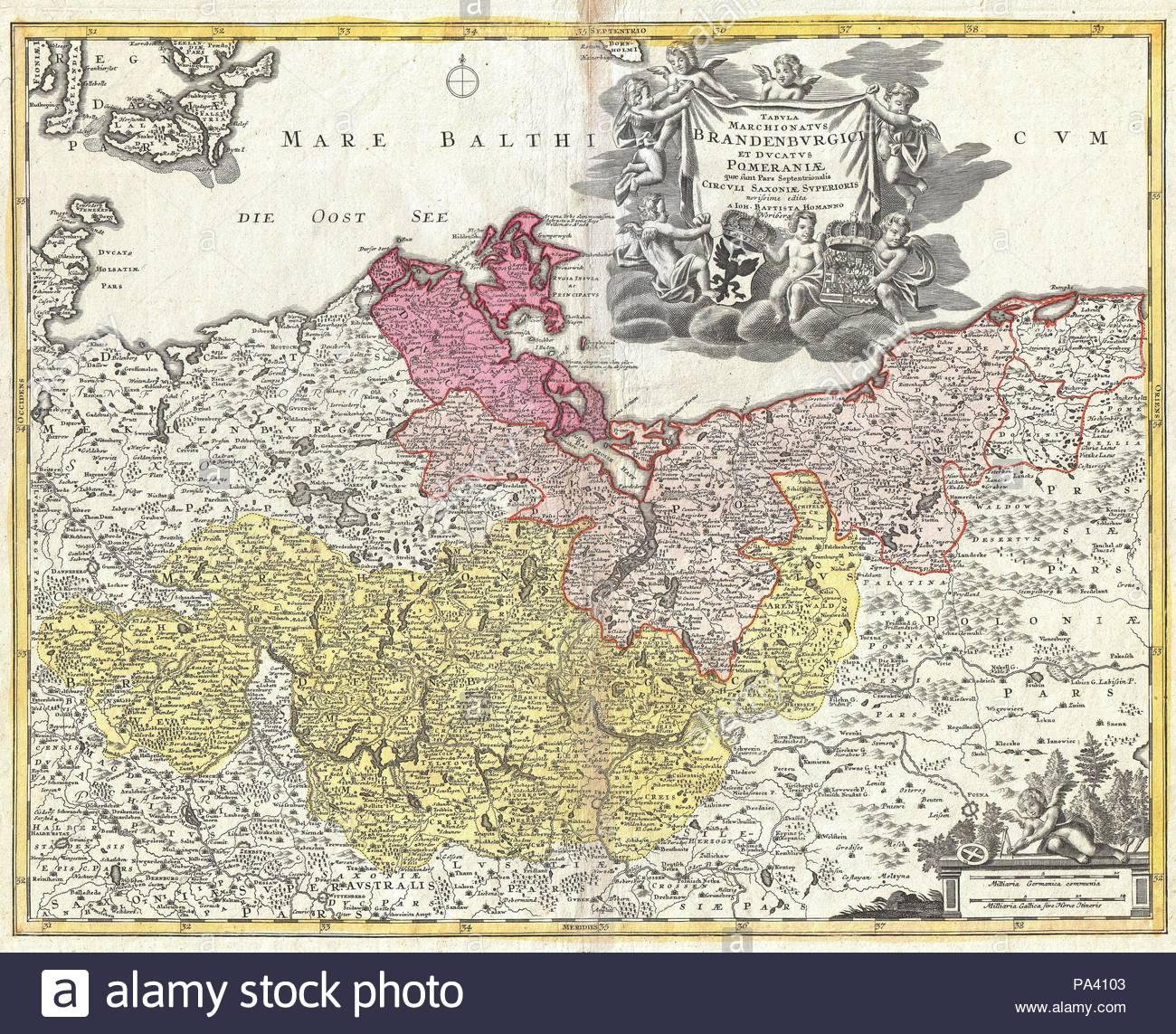 1720 Homann Map Of Brandenberg And Pomerania Germany Stock Photo