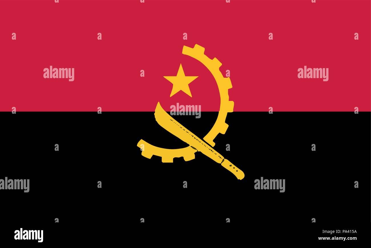 Detailed Illustration National Flag angola - Stock Vector