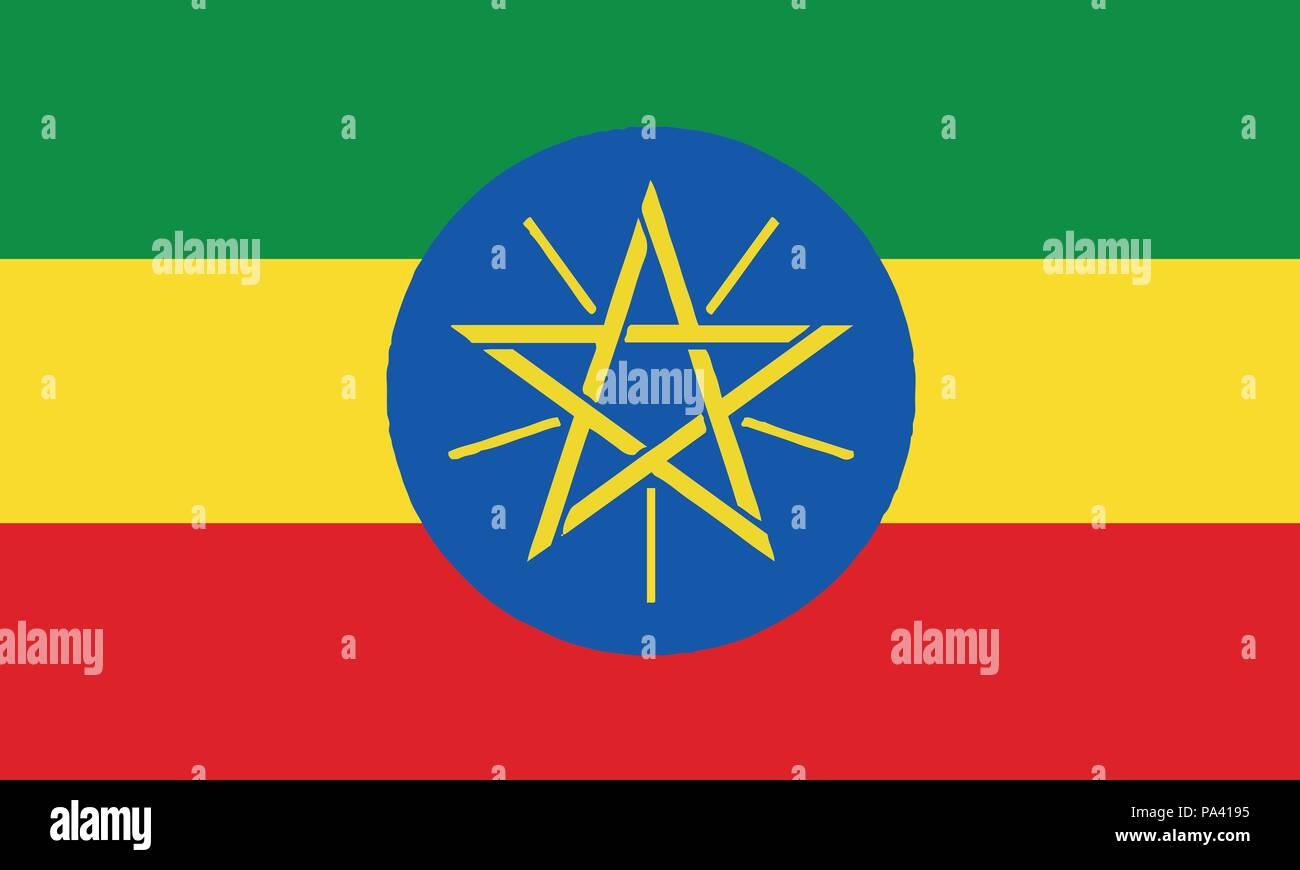 Detailed Illustration National Flag Ethiopia - Stock Vector