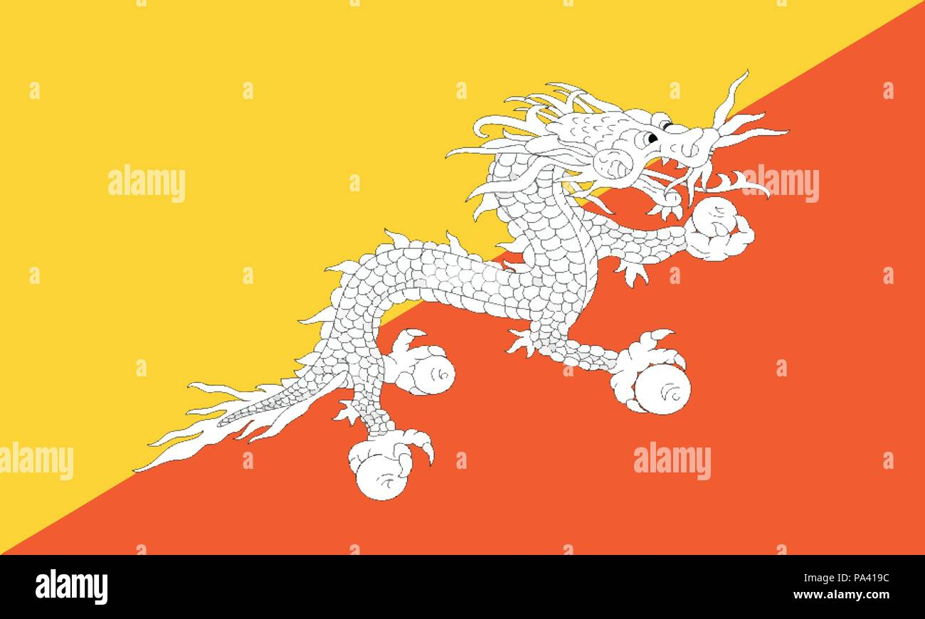 Detailed Illustration National Flag Bhutan - Stock Vector