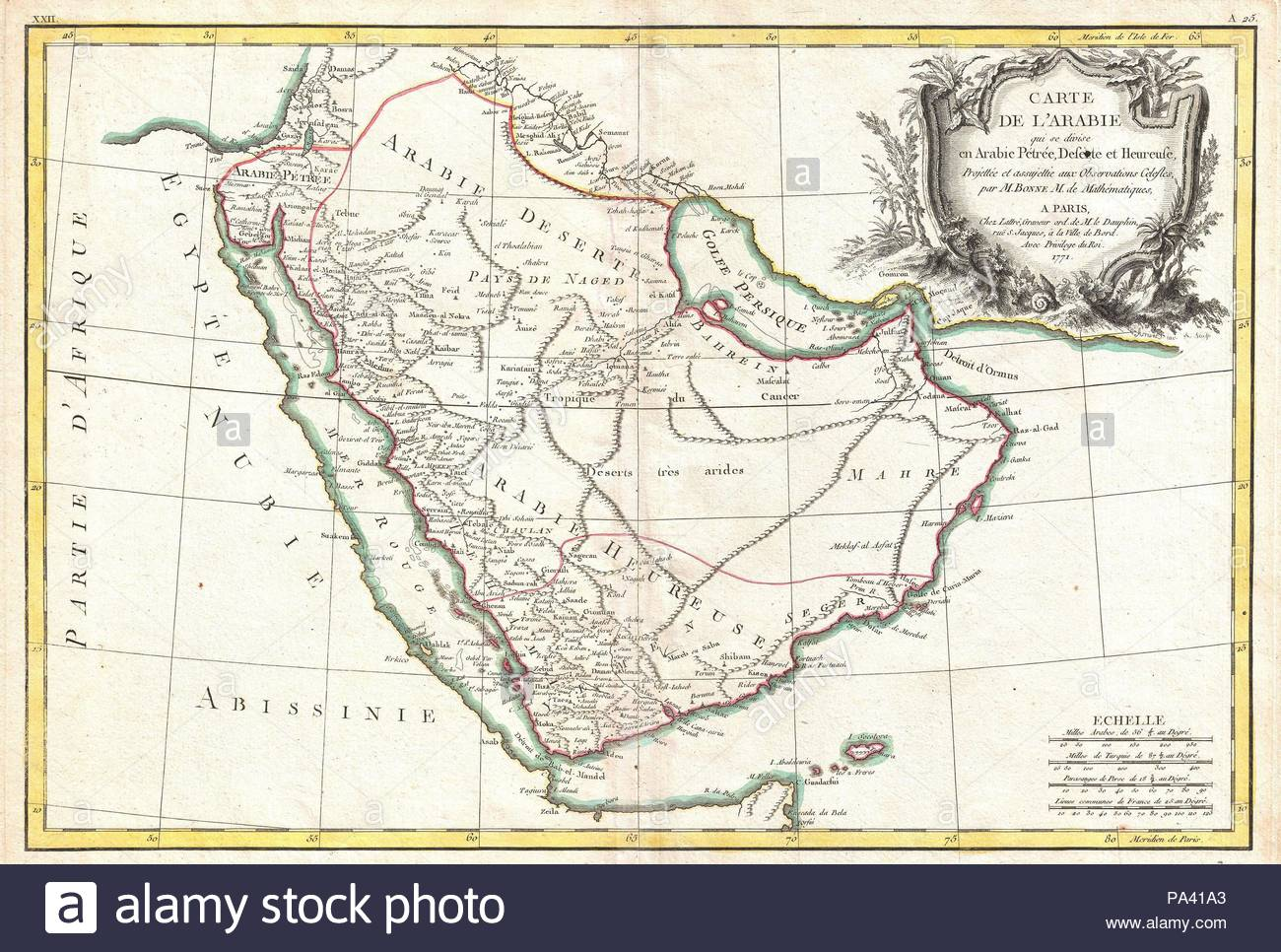 1771, Bonne Map of Arabia, Rigobert Bonne 1727 – 1794, one of the most important cartographers of the late 18th century. - Stock Image
