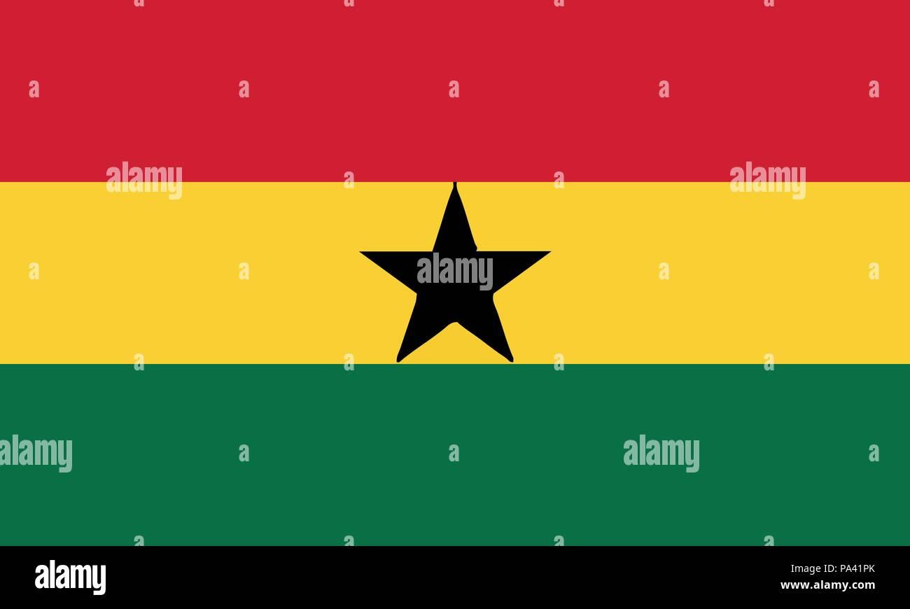 Detailed Illustration National Flag Ghana - Stock Vector