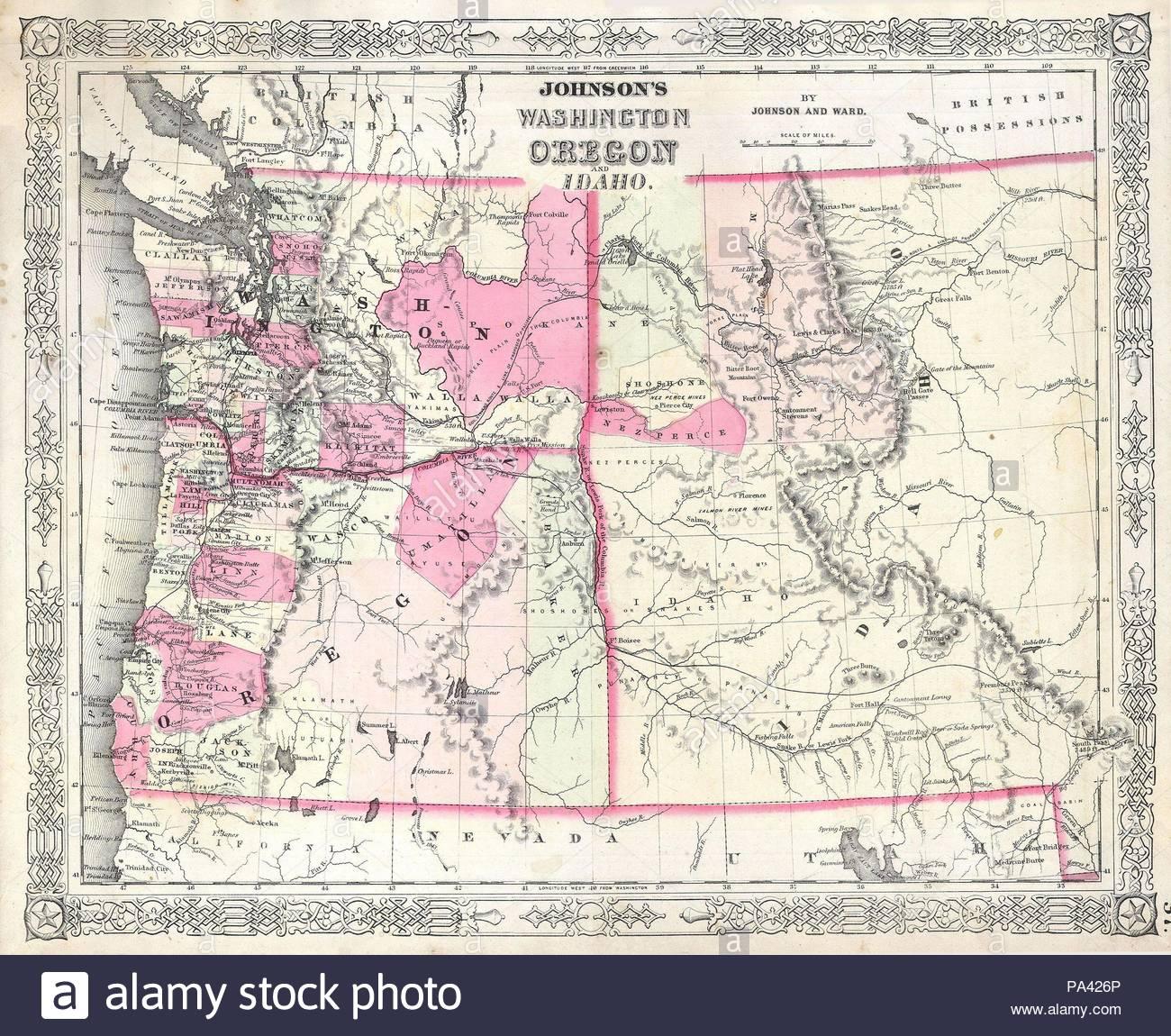 Montana And Idaho Map.1864 Johnson Map Of Washington Oregon And Idaho Wyoming And