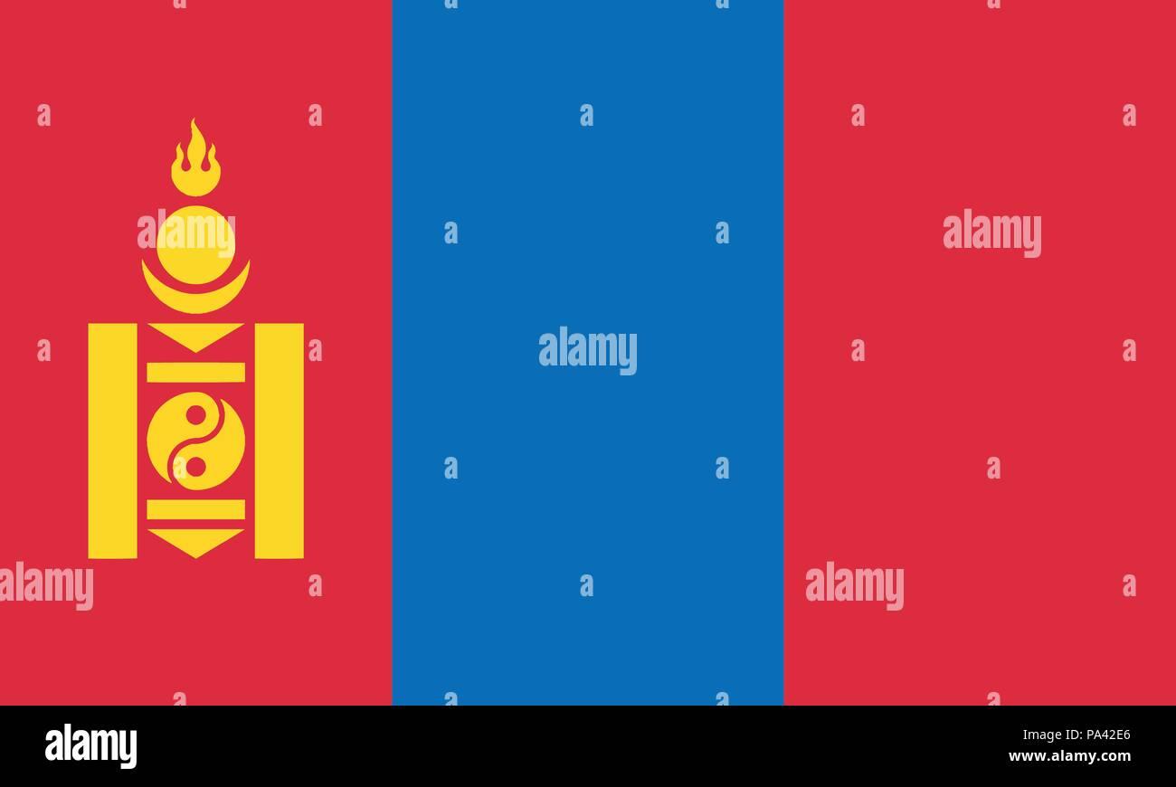 Detailed Illustration National Flag Mongolia - Stock Vector