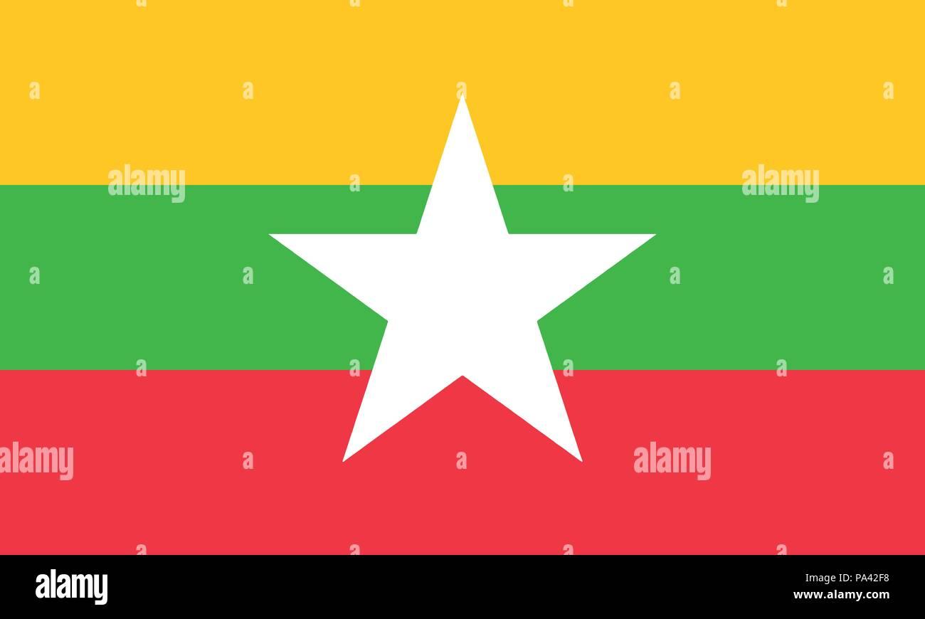 Detailed Illustration National Flag Myanmar - Stock Vector