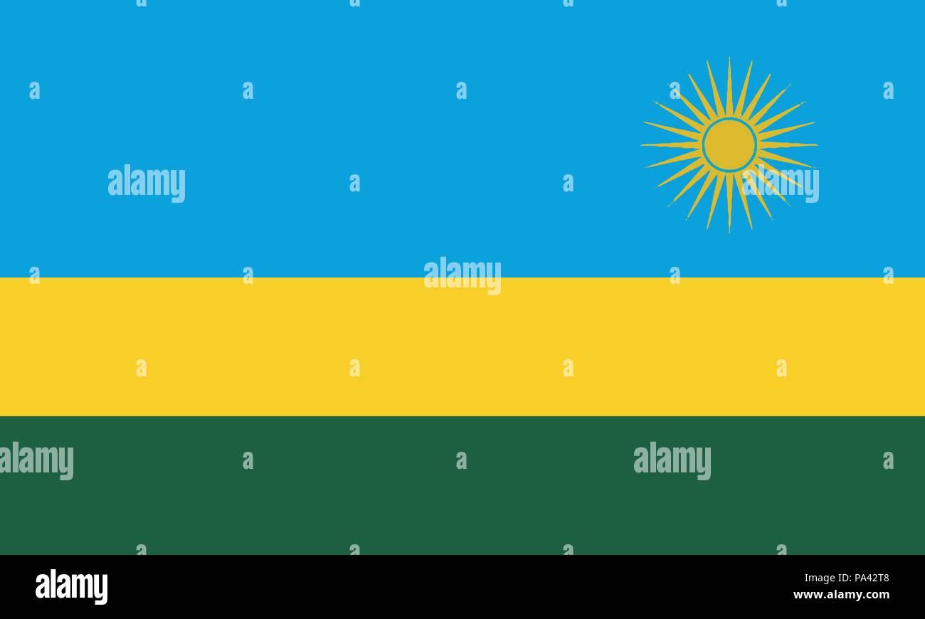 Detailed Illustration National Flag Rwanda - Stock Vector