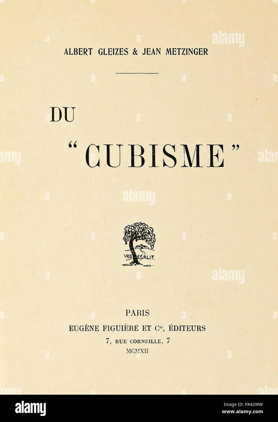 """593 Du """"Cubisme"""", 1912, Jean Metzinger, Albert Gleizes, Eugène Figuière Editeurs (cover) - Stock Image"""