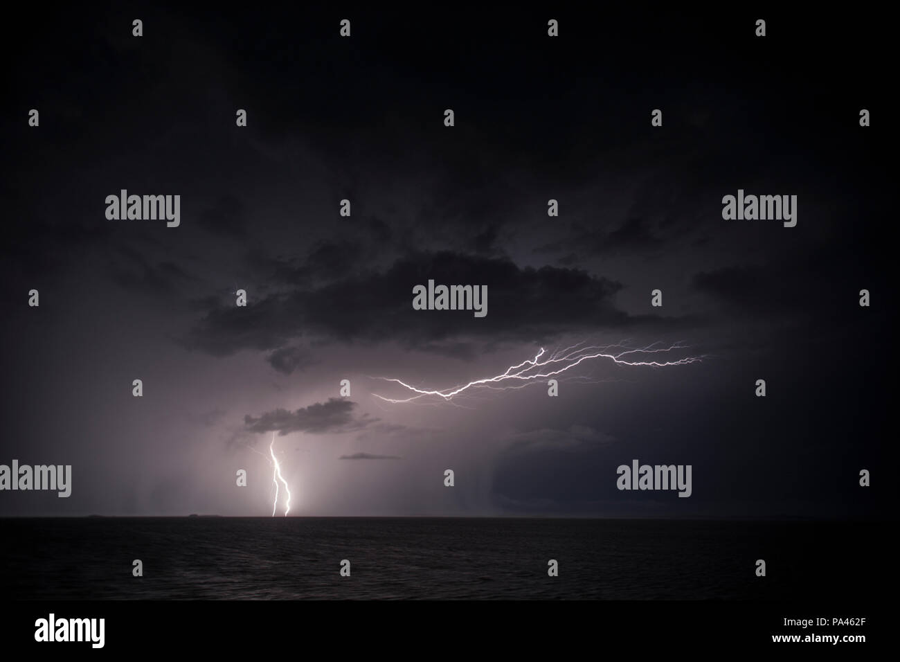 Lightning Storm at Sea, The Kimberley, Australia Stock Photo