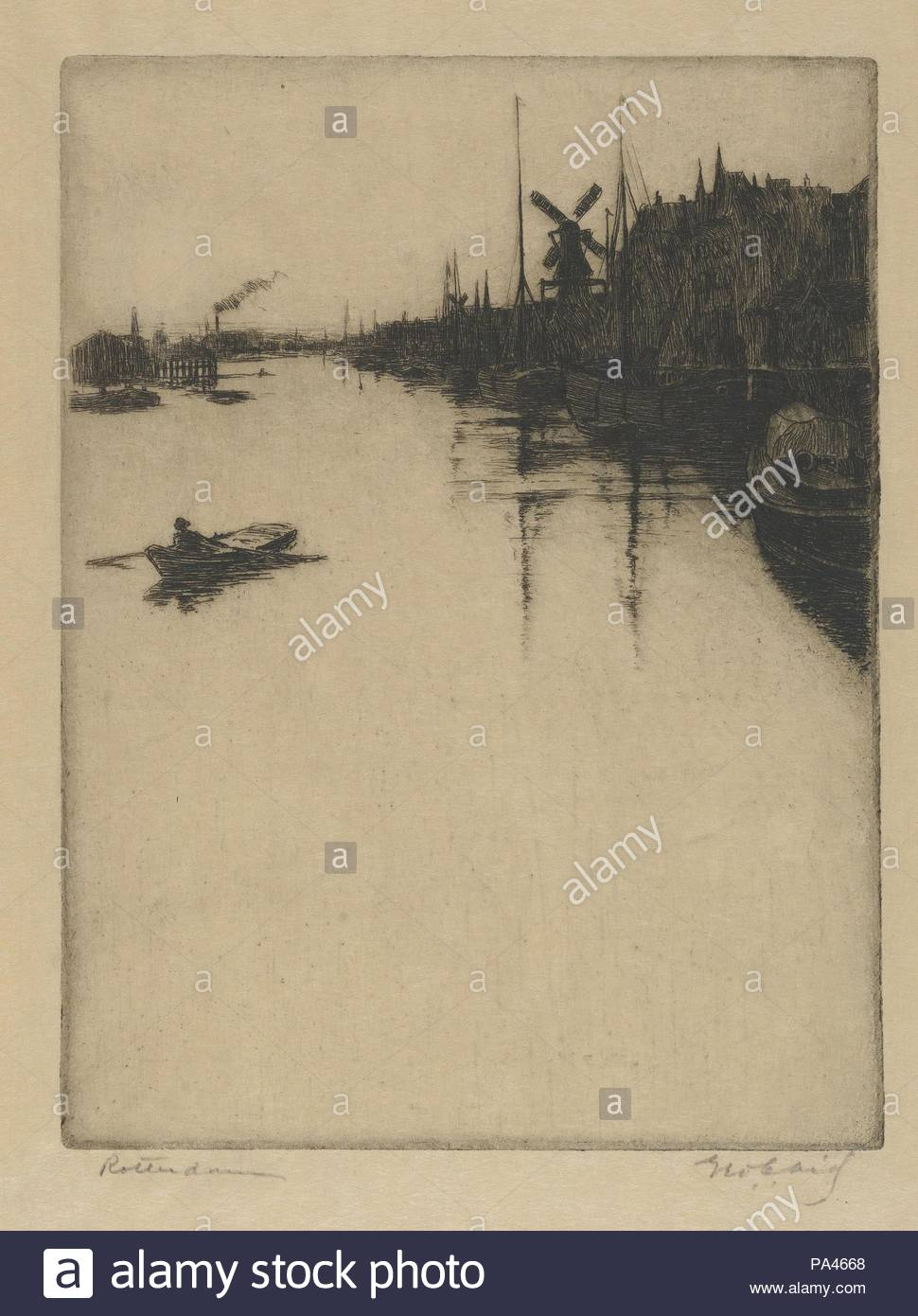 Canal, Rotterdam, late 19th–mid 20th century, Etching, Plate: 7 1/16 × 5 5/16 in. (18 × 13.5 cm), Prints, George Charles Aid (American, Quincy, Illinois 1872–1938). - Stock Image
