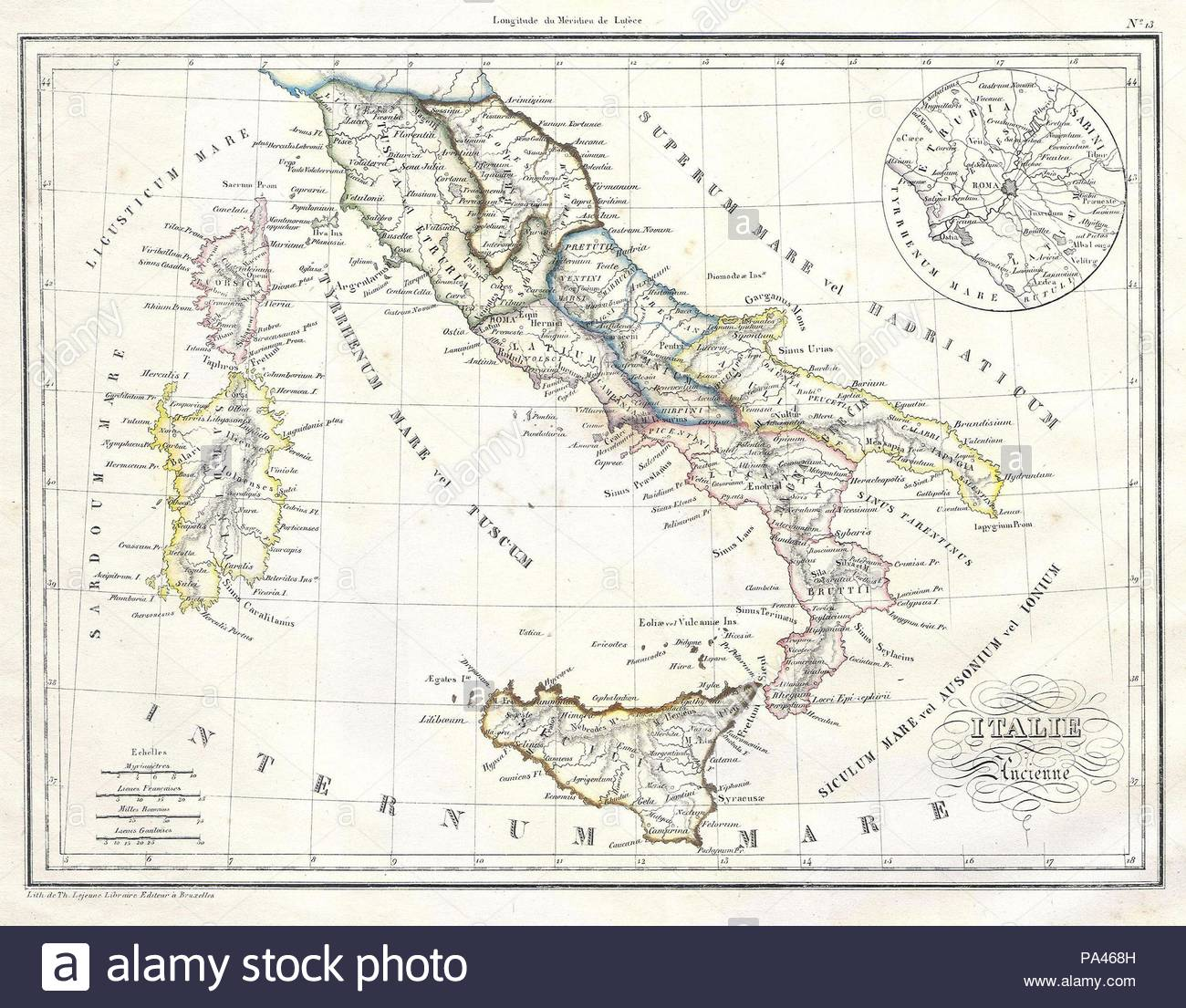 Malte Brun Map Of Italy In Ancient Roman Stock Photos Malte Brun