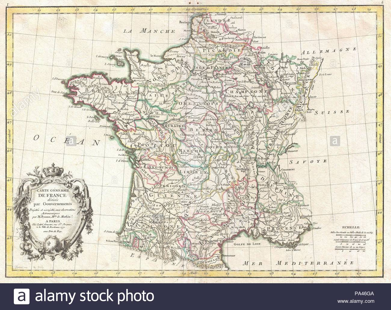1771, Bonne Map of France, Rigobert Bonne 1727 – 1794, one of the most important cartographers of the late 18th century. - Stock Image
