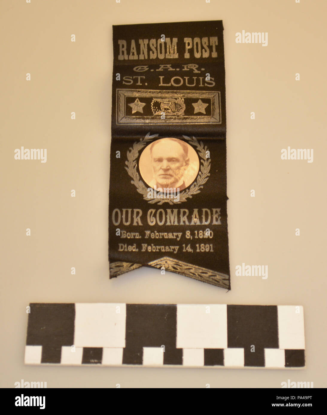 209 Black Grand Army of the Republic Ribbon Badge Memorializing William T. Sherman - Stock Image