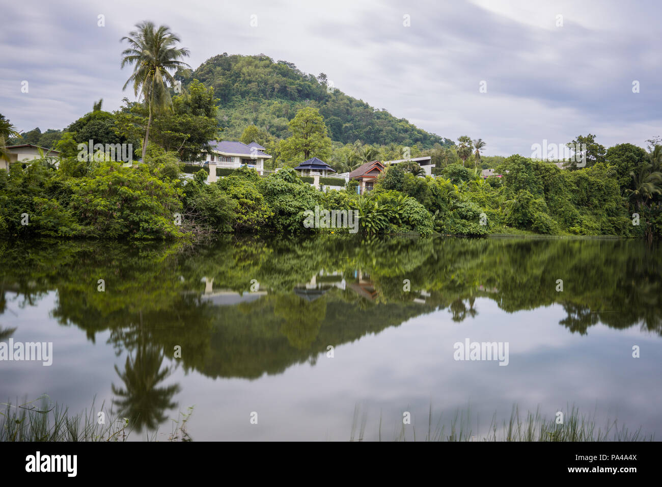 Lake Reflection In The Phuket Thailand Surface Of Lakes Like A Mirror Reflect Image Above Double Landscape