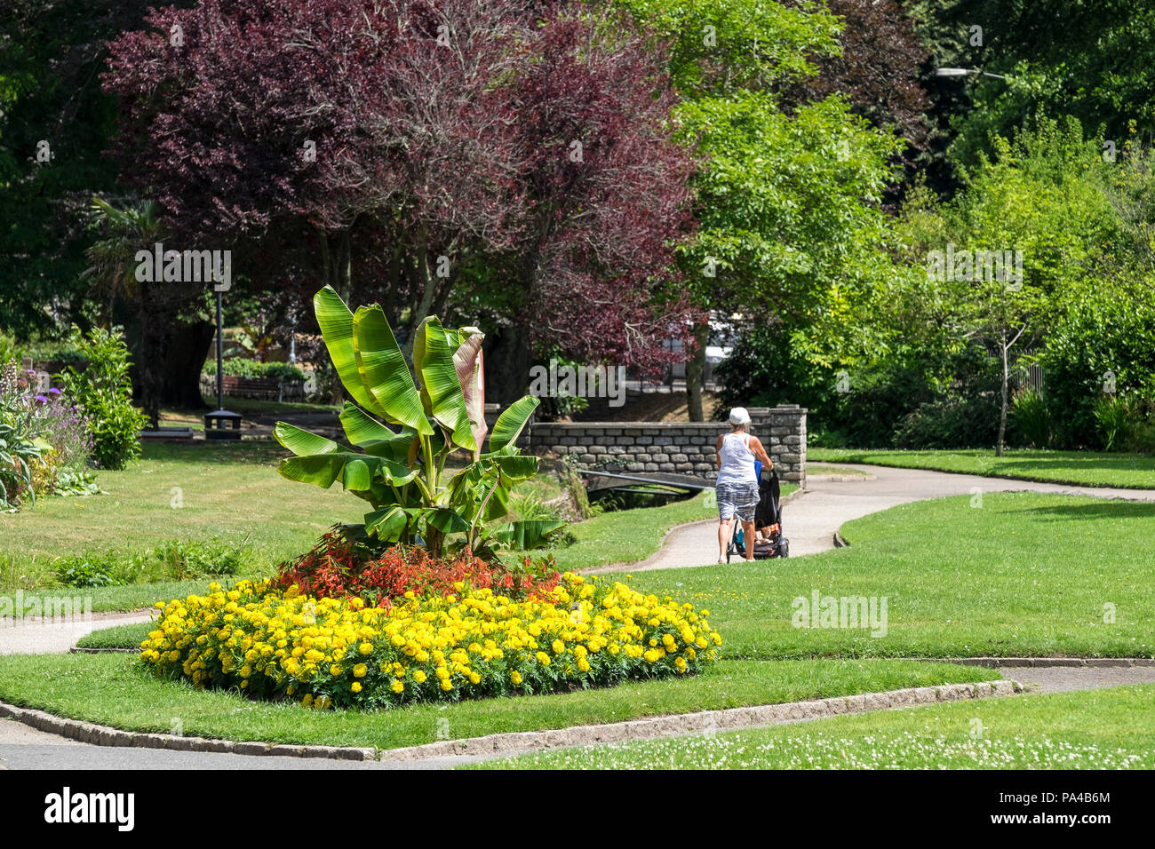 A woman pushing a baby buggy past flower beds in Trenance Park in Newquay in Cornwall. - Stock Image