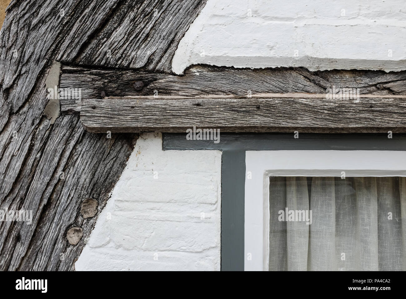 A wooden joint on the outside of an old cottage in England. Stock Photo
