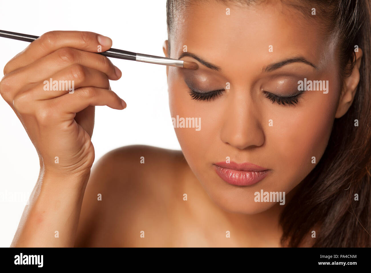 eye shadow applied with a brush - close up - Stock Image