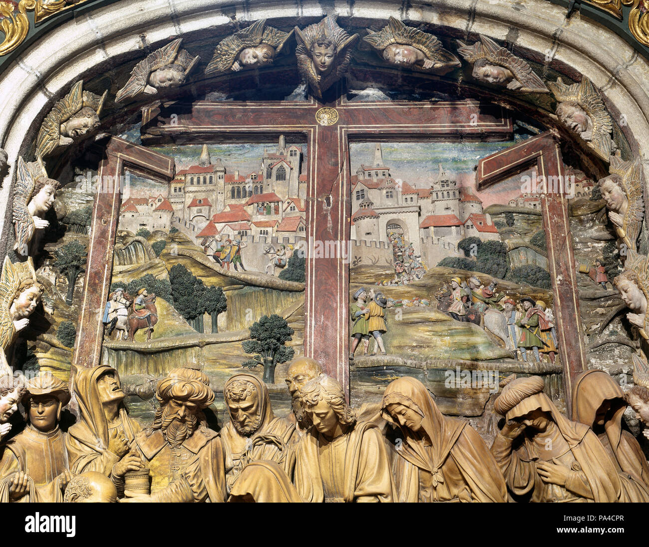 Spain. Galicia. Santiago de Compostela Cathedral. Chapel of Piety or Chaple of the Holy Cross or Chapel of Mondragon. Terracotta relief of Lamentation over Dead Christ, sculpted by Renaissance sculptor Miguel Perrin (1498 ?-1552) in 1526. Detail. Stock Photo