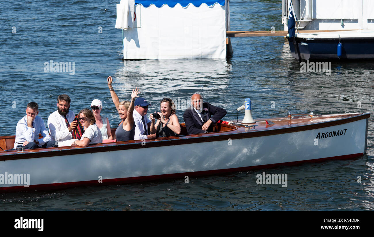 Henley on Thames, United Kingdom, 8th July 2018, Sunday, Supporters of Marlow and Bann RCs' crew, Long and Scott, celebrate winning ' the 'Hambleden C - Stock Image