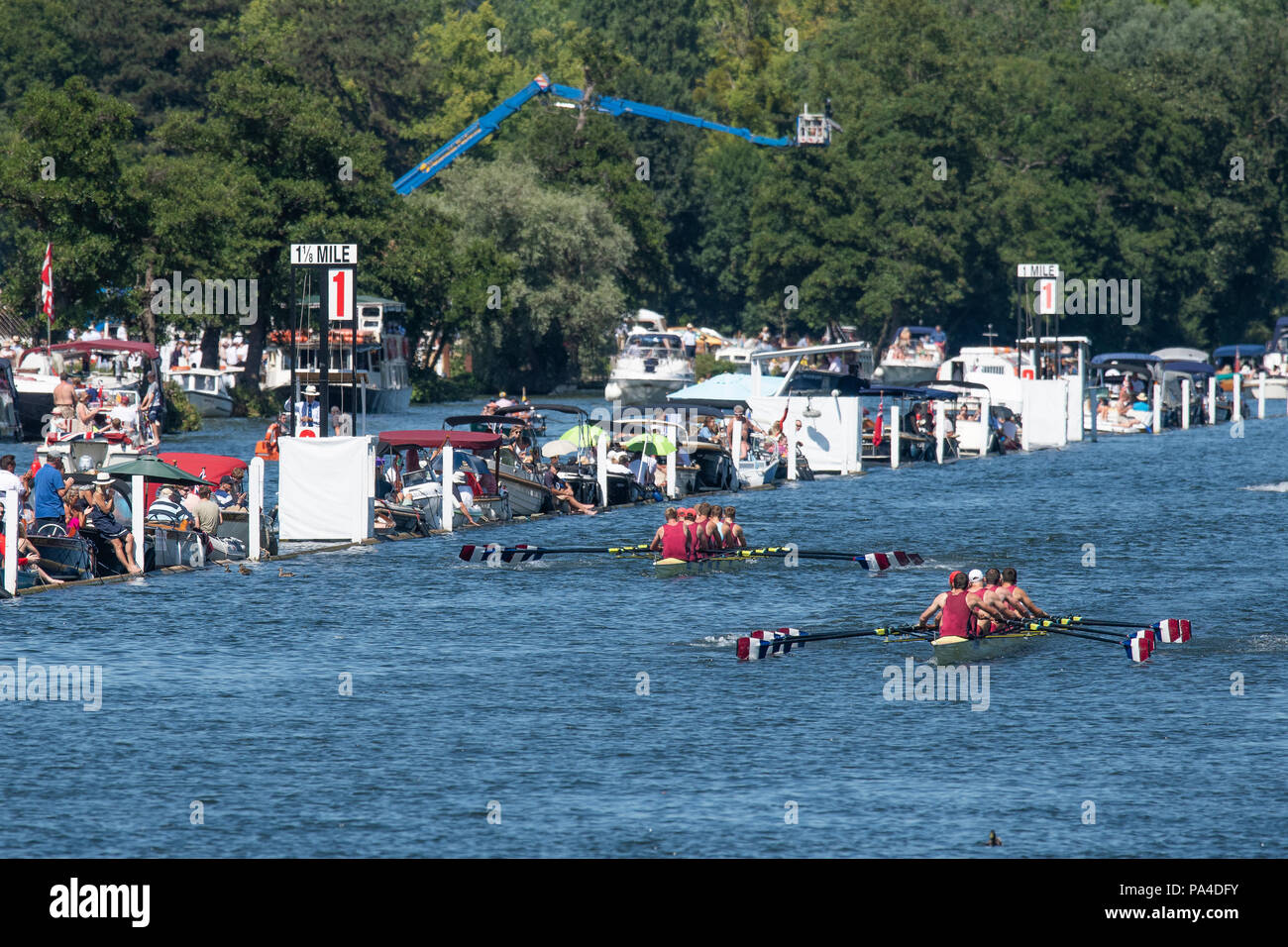 """Henley on Thames, United Kingdom, 8th July 2018, Sunday, """"The Ladies Challenge Plate"""", Oxford Brookes winning and Celebrating, the Final, """"Fifth day"""", of the annual,  """"Henley Royal Regatta"""", Henley Reach, River Thames, Thames Valley, England, © Peter SPURRIER, Stock Photo"""