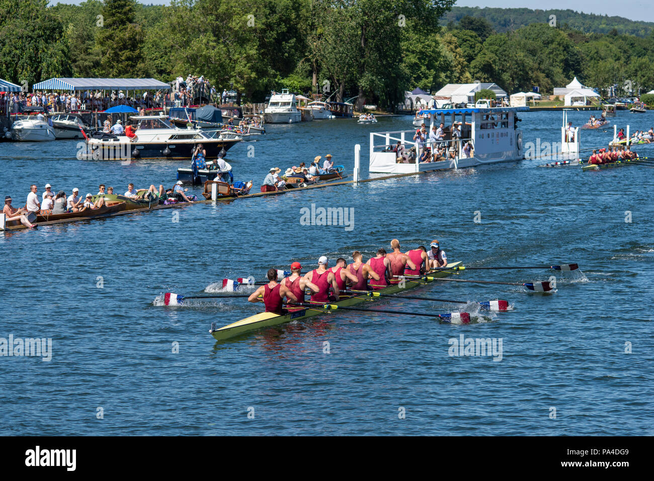 "Henley on Thames, United Kingdom, 8th July 2018, Sunday, ""The Ladies Challenge Plate"", Oxford Brookes winning and Celebrating, the Final, ""Fifth day"", of the annual,  ""Henley Royal Regatta"", Henley Reach, River Thames, Thames Valley, England, © Peter SPURRIER, Stock Photo"