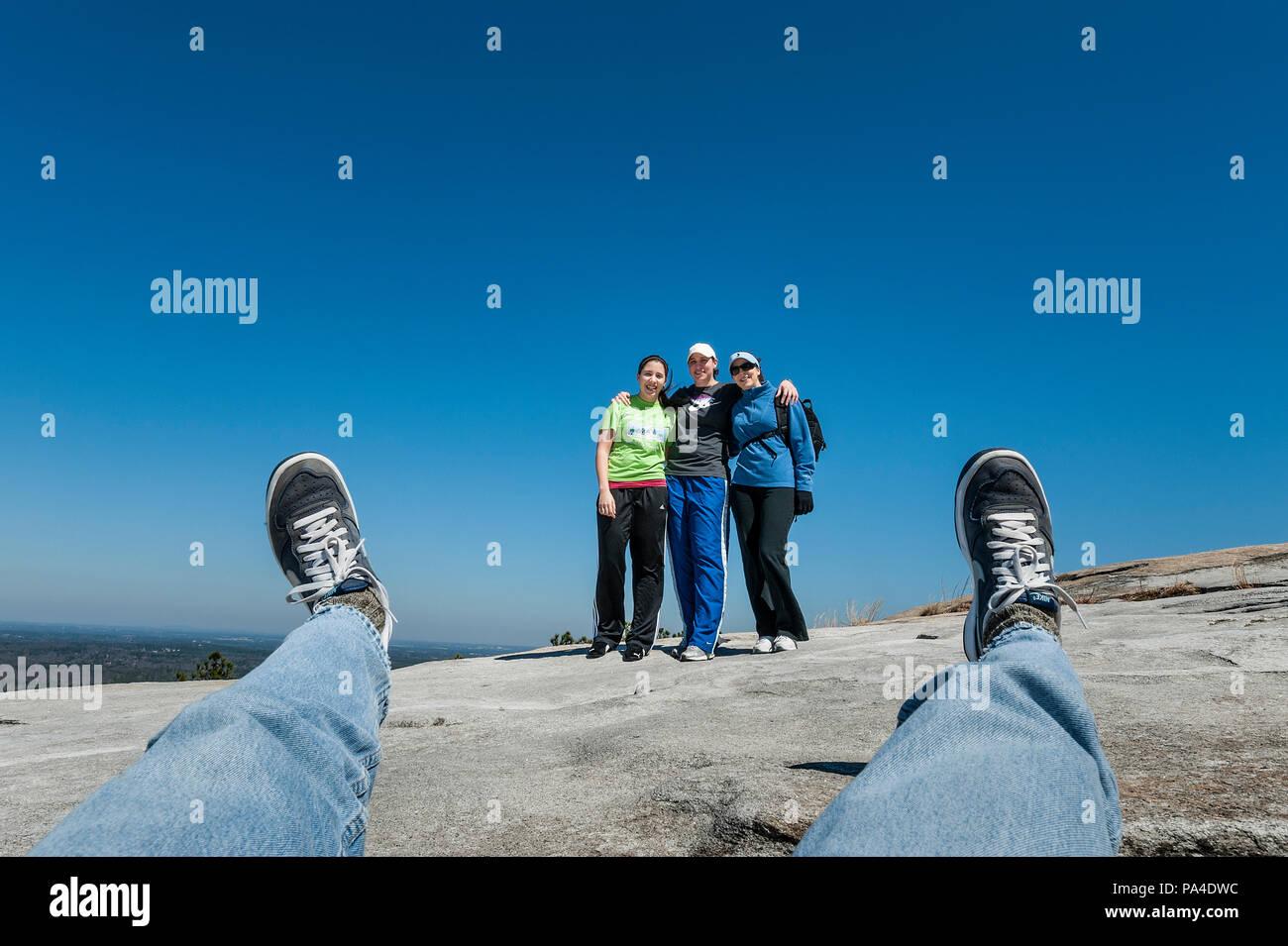 Selfie group snapshot, Stone Mountain, Georgia, USA. - Stock Image