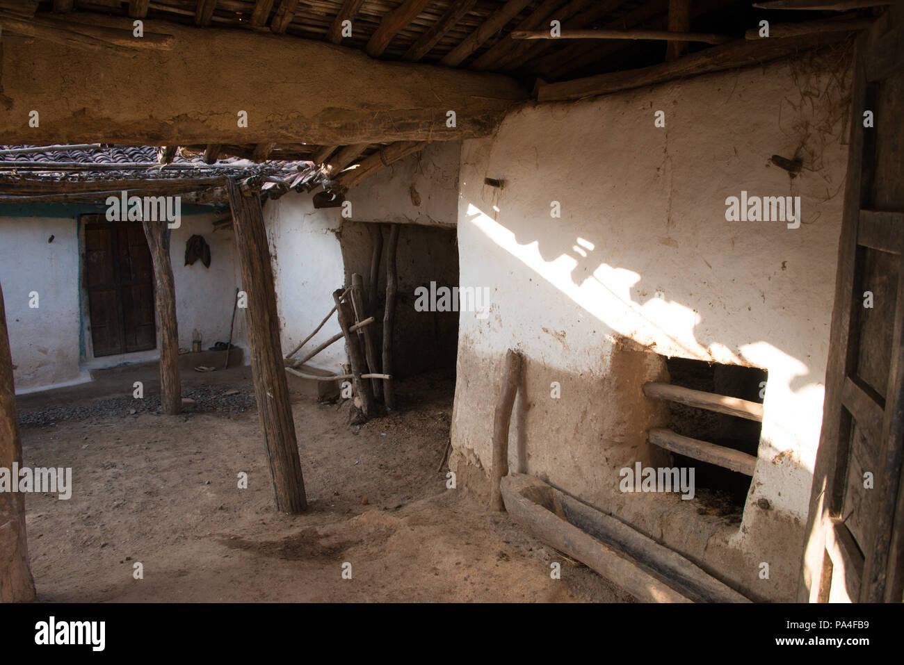 An old dwelling house in Kanha village , Kanha National Park, India Stock Photo