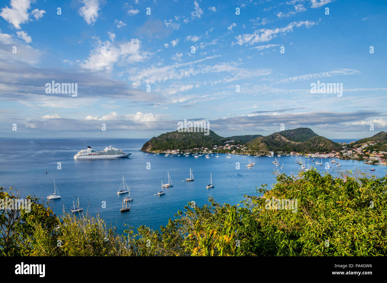 Les Saintes from Guadeloupe island one of the Most Beautiful Bays of the World - Stock Image
