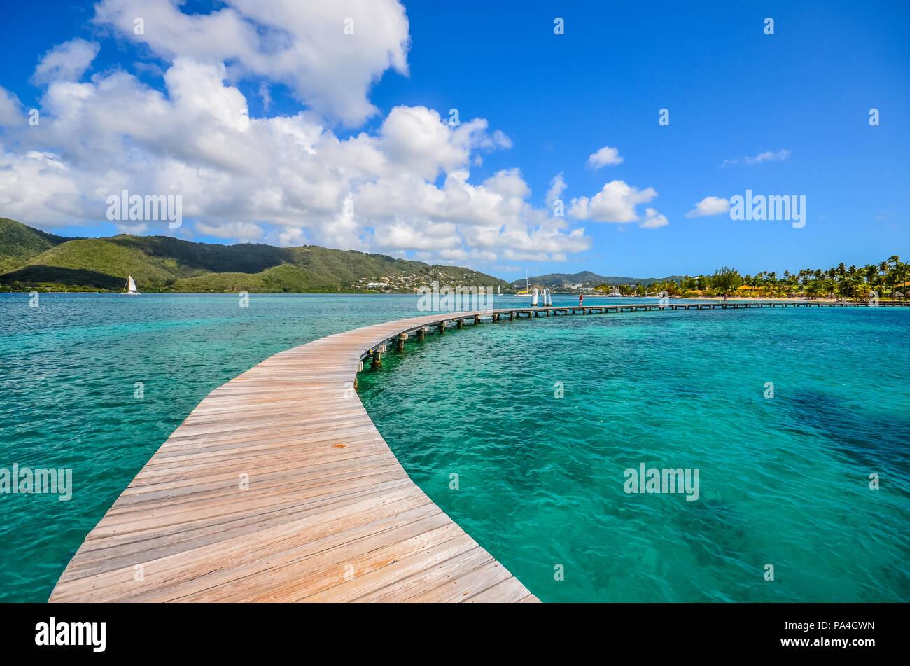 Caribbean Martinique pontoon on marin bay - Stock Image