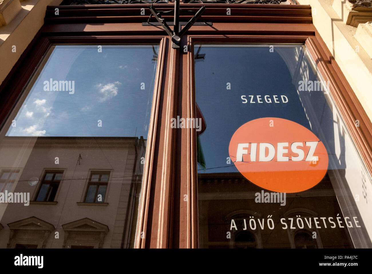 SZEGED, HUNGARY - JULY 3, 2018: Local HQ of Fidesz political party. Fidesz is the political party of the Hungarian PM, Viktor Orban, known for his pop - Stock Image