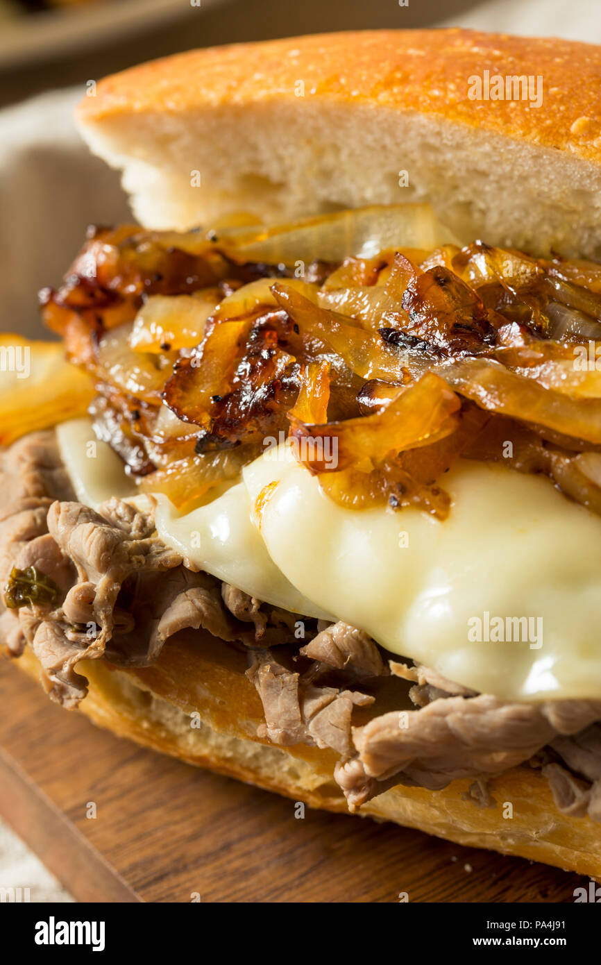 Homemade Beef French Dip Sandwich with French Fries - Stock Image