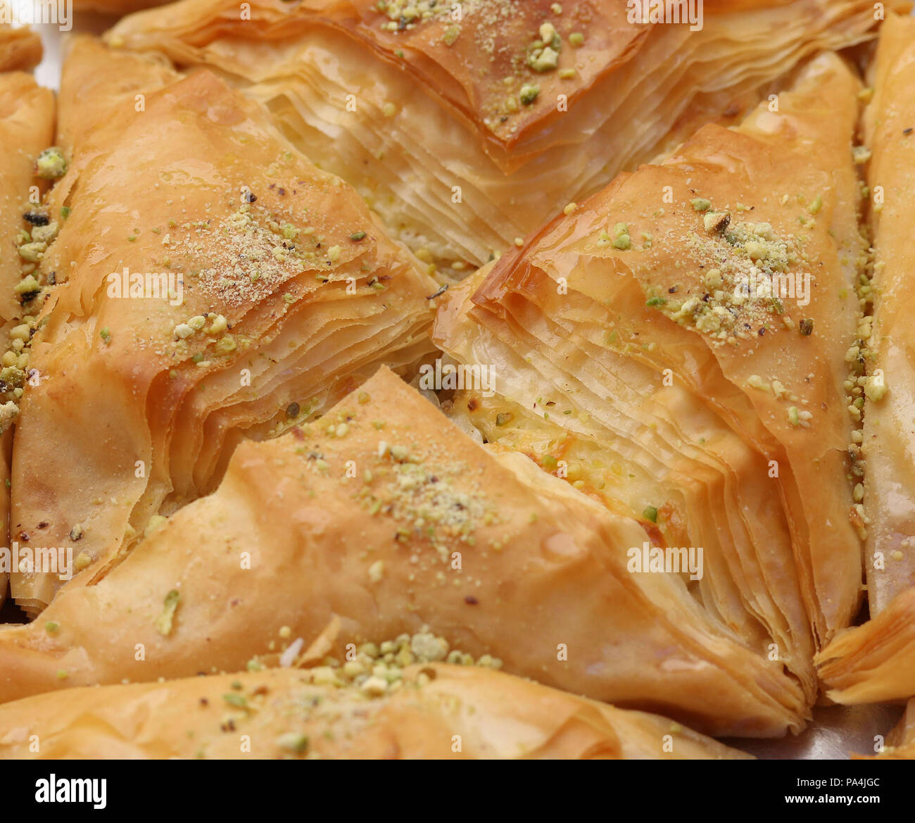 Baklava made with filo dough, honey and nuts - Stock Image