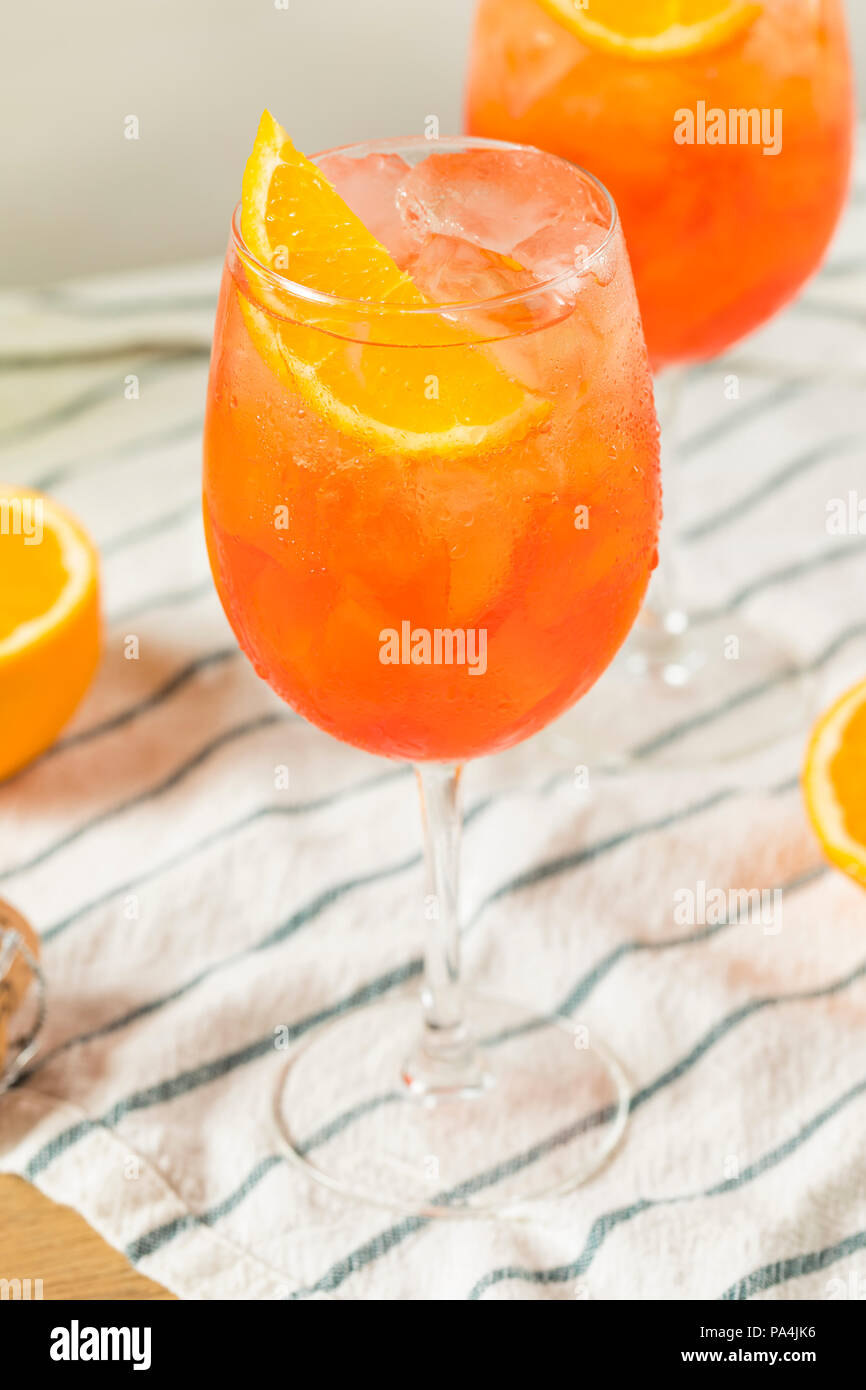 Alcoholic Aperol Spritz with Champagne and Oranges Stock Photo