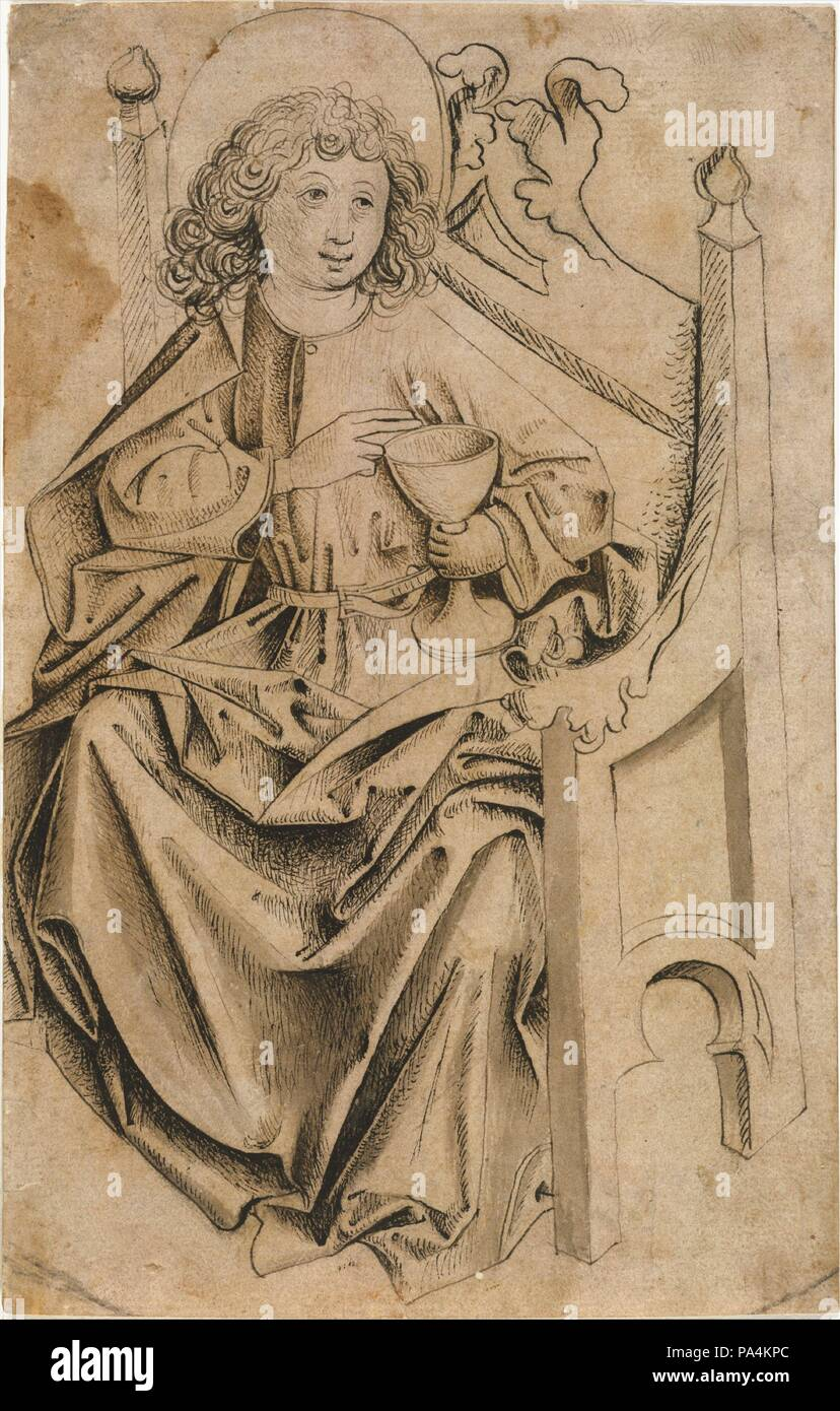 """Saint John the Evangelist. Artist: Upper Rhine (Switzerland). Culture: Upper Rhine (Switzerland). Dimensions: 10 7/16 x 6 5/8 in.  (26.5 x 16.8 cm). Date: ca. 1480.  According to the Golden Legend, the idolatrous priest Aristodemus challenged John the  Evangelist:   """"I will give you poison to drink.  If it does you no harm, it will be clear that   your master is the true God.'...The apostle took the cup, armed himself with the sign of   the cross, drained the drink, and suffered no harm; and all present began to praise God.""""    Christ's favorite disciple is seated here in a Gothic chair, his r Stock Photo"""