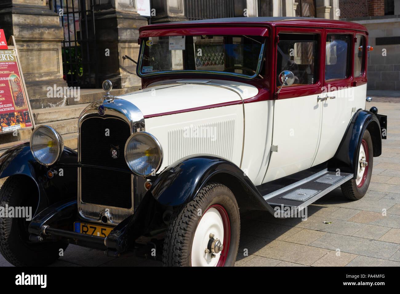 A renovated  1930 Citroen C4 Familiale in Krakow, Poland, Europe. - Stock Image