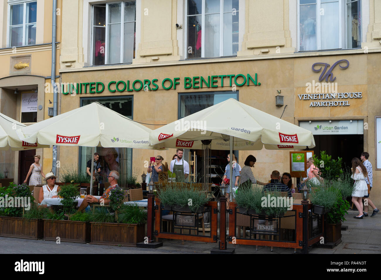 United Colors of Benetton clothing store,Krakow, Poland, Europe. - Stock Image