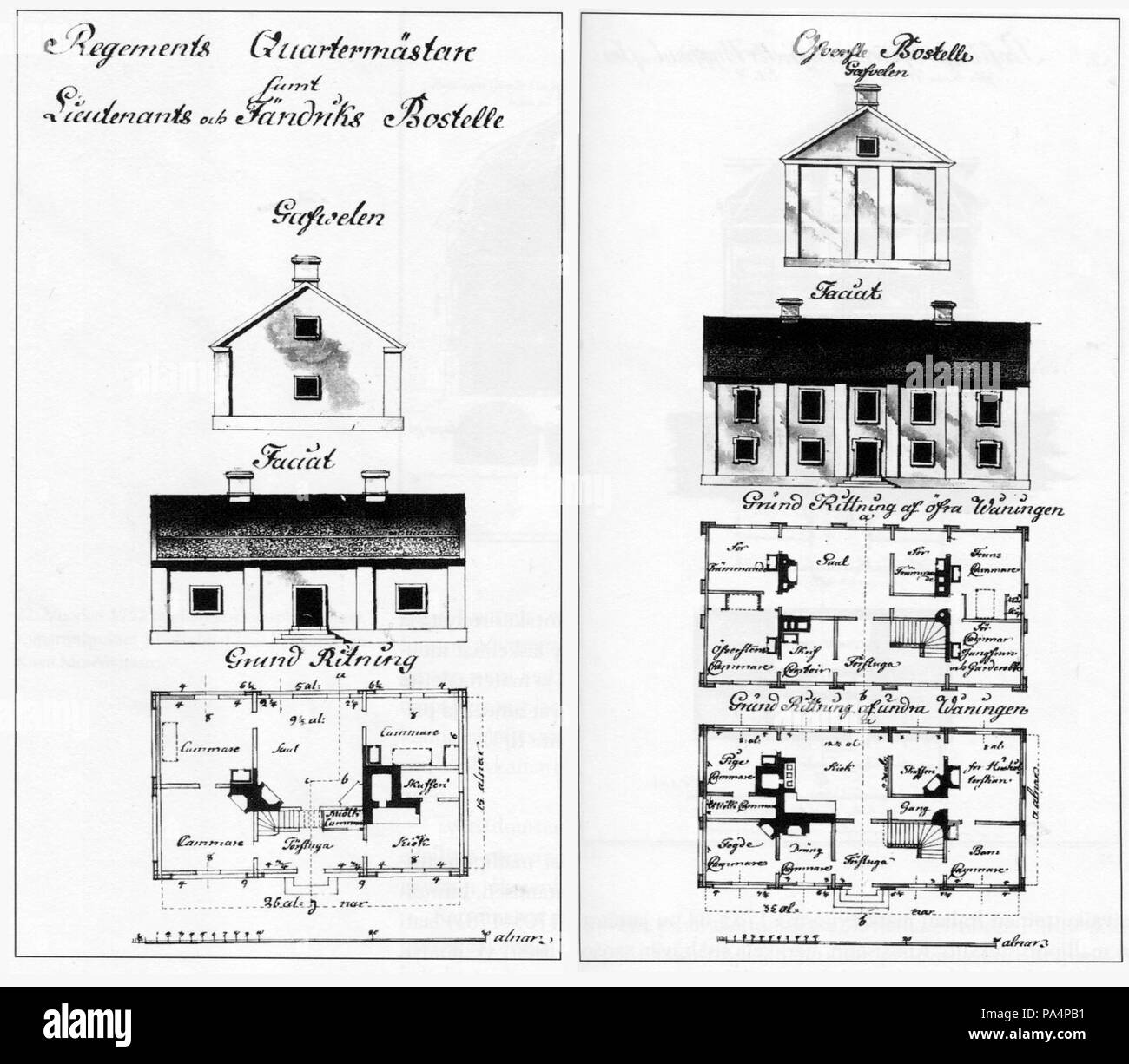 . English: Drawings for standardised houses for army officers in Finland, 1766. Other information  Original included some colour - this is a black-and-white photo of it. circa 1766 647 Finnish house-type drawings, 1766 - Stock Image