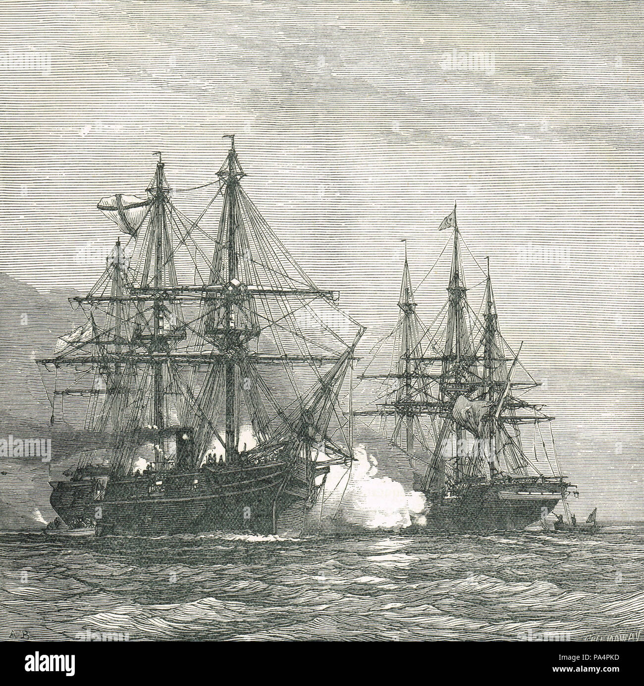 Capture of the Turkish steamer Mercene by the Russia, 23 December 1877, during the Russo-Turkish War 1877-78 - Stock Image
